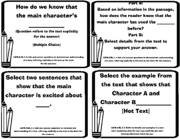 Florida State Standards-ELA 3rd grade Question Stems Task Cards -