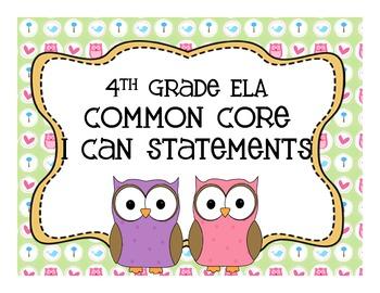 ELA 4th CCS I Can Owl Chevron theme Version 2