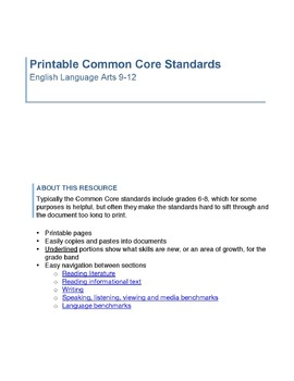 ELA 9-12 Standards - Printable - Free!!