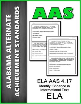ELA.AAS.4.17 Evidence in Informational Text Alabama Alternate Assessment