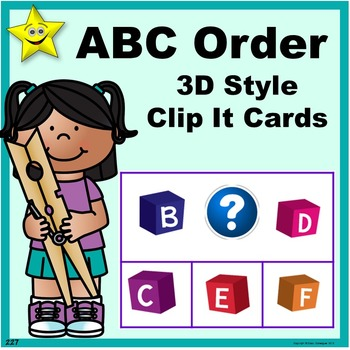 ABC Order 3D Style Clip It Cards