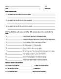 ELA ADVERBS When, Where, or How? Worksheet #3 with Answers