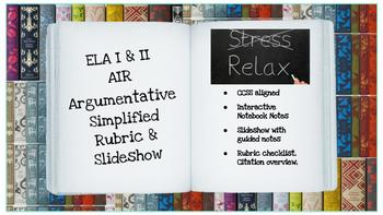 ELA AIR Argumentative Rubric w/ Slideshow
