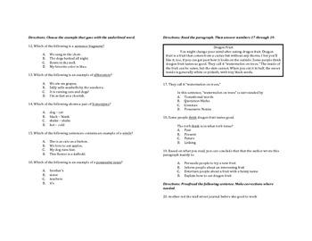 ELA Academic Vocab TCAP Review
