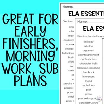 ELA Academic Vocabulary Crossword Puzzle Middle Grades