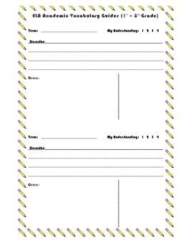 ELA Academic Vocabulary Entry Worksheet
