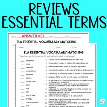 ELA Academic Vocabulary Matching Middle Grades