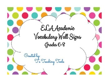 ELA Academic Vocabulary Word Wall Signs