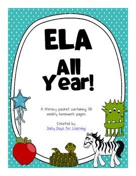 ELA All Year! A Common Core Based Kindergarten ELA Pack