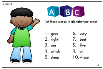 Alphabetical Order Sight Word Style