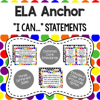 Anchor - ELA CCSS I Can Statements (Primary Dots and Black Dots)