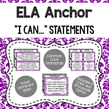 ELA Anchor I Can Statements for CCSS Standards (Damask)