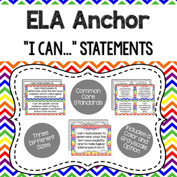 ELA Anchor I Can Statements for CCSS Standards (Gray Chevron)