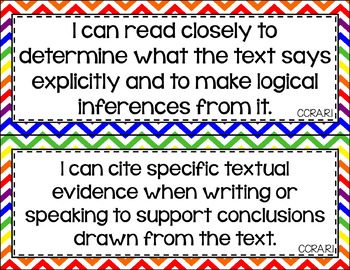 Anchor - ELA CCSS I Can Statements (Primary Chevron and Gray Chevron)