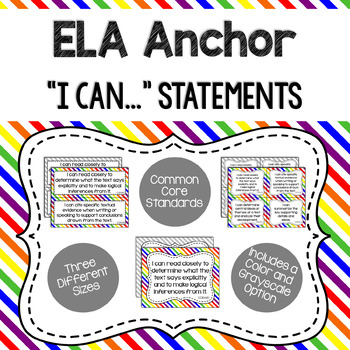 ELA Anchor I Can Statements for CCSS Standards (Gray Stripes)
