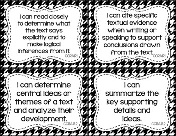 Anchor - ELA CCSS I Can Statements (Jewel Houndstooth and Black Houndstooth)