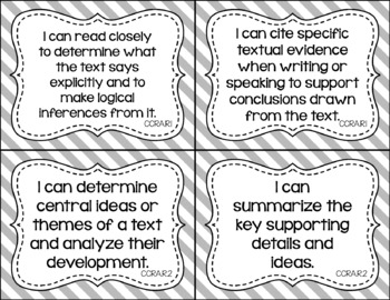 Anchor - ELA CCSS I Can Statements (Jewel Stripes and Gray Stripes)