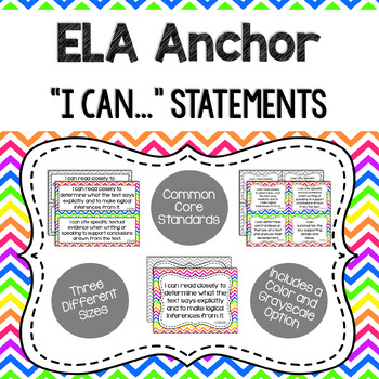 ELA Anchor I Can Statements for CCSS Standards (Rainbow Chevron)