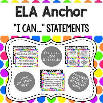 Anchor - ELA CCSS I Can Statements (Bright Dots and Black Dots)