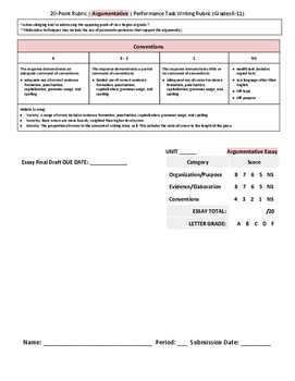 ELA Argument Essay 20-Point Performance Task Writing Rubric (grades 6-12)