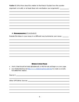 ELA Argument Essay Say Mean Matter Outline (grades 6-12)