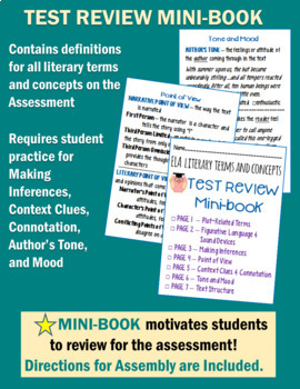 ELA Assessment - Exam with Test Review MINI-BOOK - Grades 6-8 Common Core