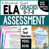 ELA Assessment - Exam with Test Review MINI-BOOK - Grades 6-8 Standards-Based