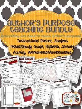 ELA Author's Purpose Teaching Bundle Activities, Flipbook, Posters & More!