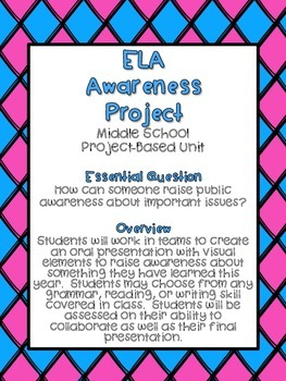 End of the Year ELA Awareness Project-Based Unit - PBL