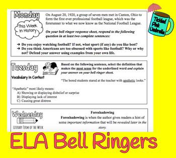 ELA Bell Ringer Bundle 2nd 9 Weeks (2018-19 School Year)