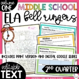 Middle School ELA Bell Ringers Volume One {2nd Quarter}