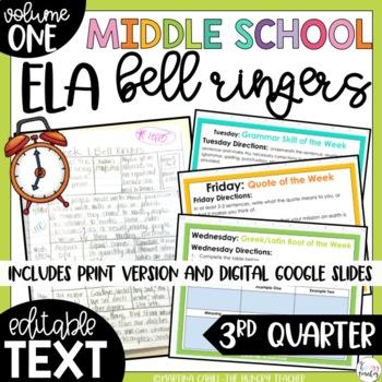 ELA Bell Ringers for Middle School-Volume One {3rd Quarter}