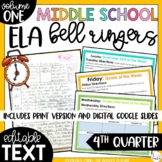 Middle School ELA Bell Ringers Volume One {4th Quarter}