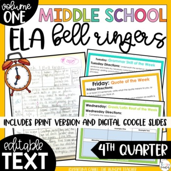 ELA Bell Ringers 7th Grade {4th Quarter} Middle School Bel