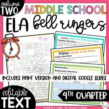 ELA Bell Ringers 8th Grade {4th Quarter} Middle School Bell Ringers