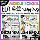 DIGITAL Middle School ELA Bell Ringers Volume One | Entire Year Bundle |
