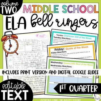 Middle School ELA Bell Ringers Volume Two {1st Quarter}