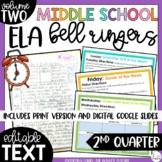 ELA Bell Ringers for 8th Grade {2nd Quarter} Middle School