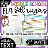 Middle School ELA Bell Ringers Volume Two {2nd Quarter}