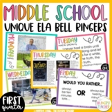 ELA Bell Ringers | Middle School Grammar | Literature Mentor Sentences | 1st Qtr