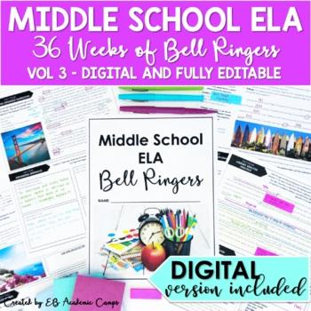 ELA Bell Ringers for Middle School 6th Grade Full Year DIGITAL PRINT EDITABLE