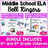 ELA Bell Ringers for Middle School Complete Year 6th and 8th Grade BUNDLE