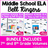 ELA Bell Ringers for Middle School Complete Year 7th and 8th Grade BUNDLE