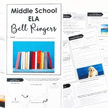 ELA Bell Ringers for Middle School 7th Grade Full Year DIGITAL PRINT EDITABLE