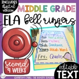 ELA Bell Ringers Middle School Upper Elementary Editable Distance Learning (2nd)