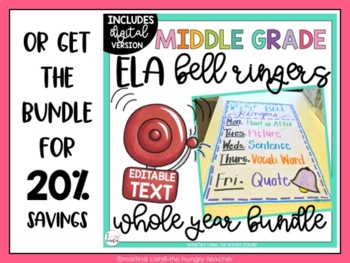 ELA Bell Ringers for Middle School and Upper Elementary {3 Free Weeks}