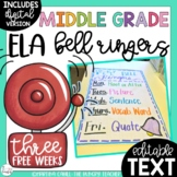 ELA Bell Ringers for Middle School and Upper Elementary | 3 Free Weeks