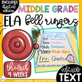 ELA Bell Ringers Middle School Upper Elementary Editable Distance Learning (3rd)