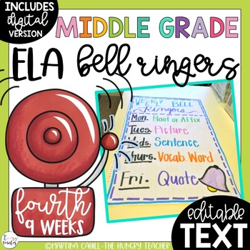 ELA Bell Ringers for Middle School and Upper Elementary (4th Quarter)