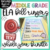 ELA Bell Ringers Upper Elementary & Middle School EDITABLE